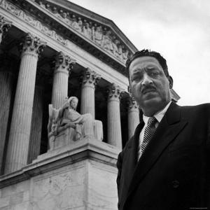 NAACP Chief Counsel Thurgood Marshall Standing on Steps of the Supreme Court Building by Hank Walker