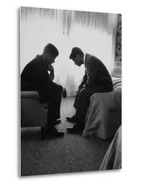 Presidential Candidate John Kennedy Conferring with Brother and Campaign Organizer Bobby Kennedy by Hank Walker