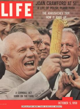 Russian Premier Nikita Khrushchev Holding Up Ear of Corn During Tour of US, October 5, 1959 by Hank Walker