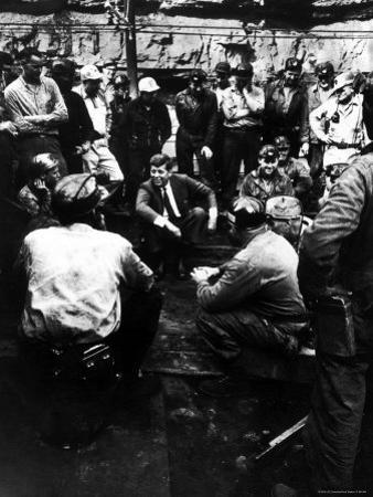 Senator John Kennedy Campaigning at Coal Mine by Hank Walker
