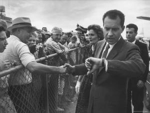 Vice President Richard M. Nixon with His Wife Greeting People by Hank Walker