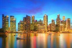 Singapore Skyline and View of Skyscrapers on Marina Bay by Hanna Slavinska