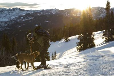 Man Shows His Dogs Affection Before A Morning Backcountry Ski In Montana's Gallatin Range