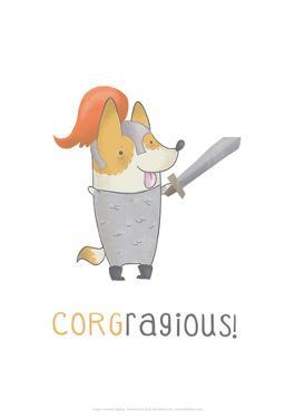 Corgragious! - Hannah Stephey Cartoon Dog Print by Hannah Stephey