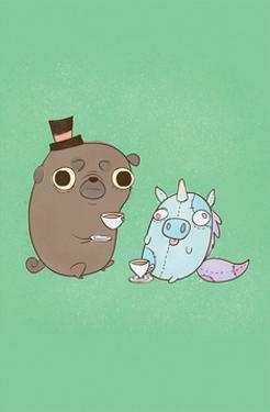 Dog and Unicorn - Hannah Stephey Cartoon Dog Print by Hannah Stephey