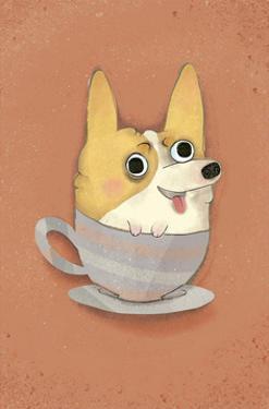 Dog in a teacup - Hannah Stephey Cartoon Dog Print by Hannah Stephey