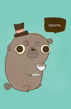 Dog saying 'Cheers' - Hannah Stephey Cartoon Dog Print by Hannah Stephey