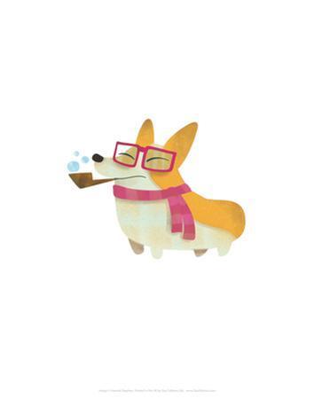 Dog with pipe, scarf and glasses - Hannah Stephey Cartoon Dog Print by Hannah Stephey