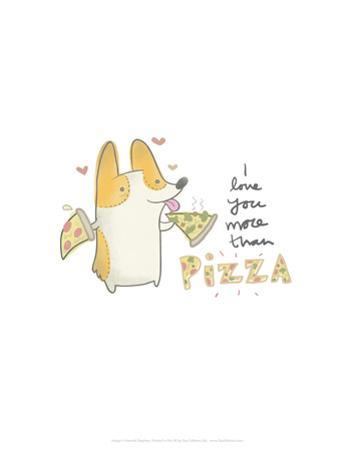I love you more than pizza dog - Hannah Stephey Cartoon Dog Print by Hannah Stephey