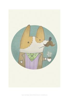 Posh dog - Hannah Stephey Cartoon Dog Print by Hannah Stephey