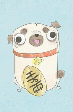 Pug holding sign - Hannah Stephey Cartoon Dog Print by Hannah Stephey