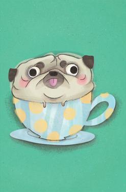 Pug in a teacup - Hannah Stephey Cartoon Dog Print by Hannah Stephey