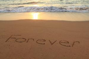Forever Written in the Sand on a Beach at Sunset. by Hannamariah