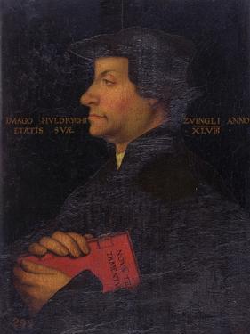 Portrait of Huldrych Zwingli (1484-1531) (Panel) by Hans Asper