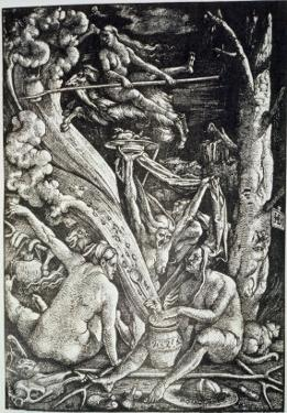 Witches at the Sabbath, Hans Baldung Grien, a History of Magic Published Late 19th Century by Hans Baldung Grien