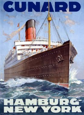 Cunard Line, Hamburg to New York by Hans Bohrdt