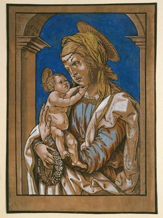 Madonna and Child under an Arch, 1508 (Woodcut, Overworked with Watercolour and Bodycolour) by Hans Burgkmair