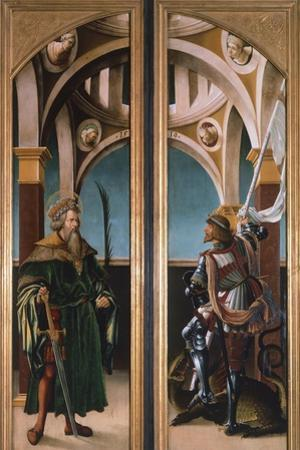 St. Sigismund and St. George, Detail from Doors of a Triptych of the Crucifixion, 1519 by Hans Burgkmair