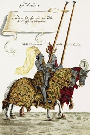 Two Knights in Jousting Armour (Gestech) and Armed with Lances, Illustration from a Facsimile… by Hans Burgkmair