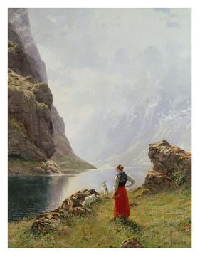 A Girl with Goats by a Fjord by Hans Dahl
