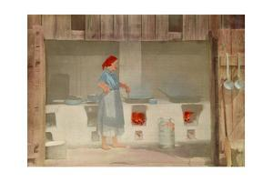 A Barefoot Woman Cooks over a Wood Fire on an Earthen Stove by Hans Hildenbrand