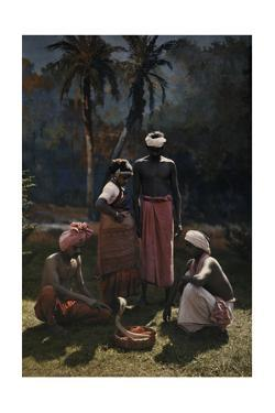 A Group of People Gather Round and Watch a Snake Charmer at Work by Hans Hildenbrand