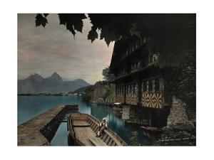 A View of a Boat Docked on Lake Lucerne by Hans Hildenbrand