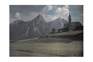 A View of a Church with the Alps Further in the Distance by Hans Hildenbrand