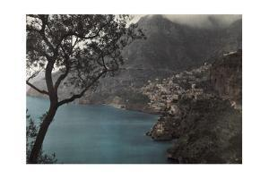 A View of a Small Town Tucked into the Mountain Near Amalfi by Hans Hildenbrand