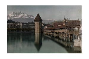 A View of the Kapellbrucke Bridge over the Reuss River in Lucerne by Hans Hildenbrand
