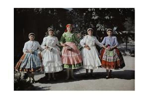 Five Young Girls Wear their National Costume Pridefully by Hans Hildenbrand