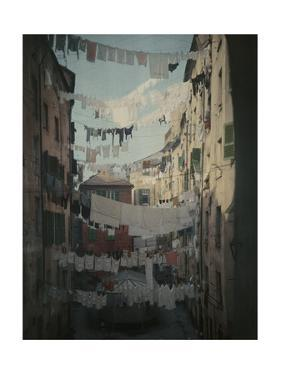 Genoese Families Hang Laundry Between Buildings to Dry by Hans Hildenbrand