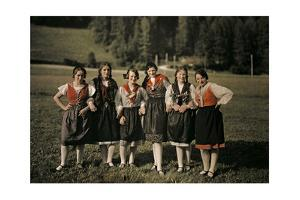 Group of Girls Pose on Holiday in One of Styria's Mountain Villages by Hans Hildenbrand