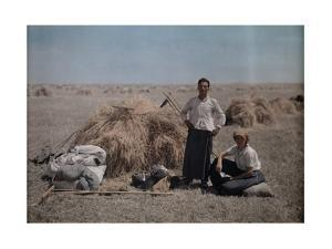 Peasant Couple Work During Harvest, their Belongings Beside Them by Hans Hildenbrand