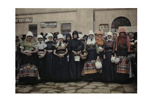Peasant Women in Front of the Market Wear Traditional Folk Costume by Hans Hildenbrand