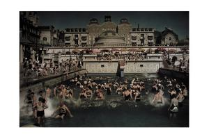 People Enjoying the Gellert Bath, an Outdoor Swimming Pool on the Banks of the Danube by Hans Hildenbrand
