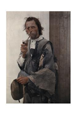 Portrait of a Gypsy Man Smoking a Pipe by Hans Hildenbrand