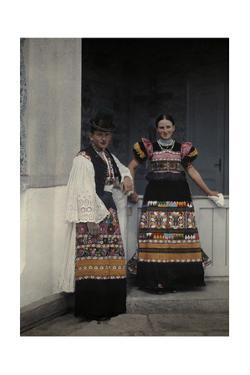 Portrait of a Young Bridal Couple Dressed in Typical Bridal Costume by Hans Hildenbrand