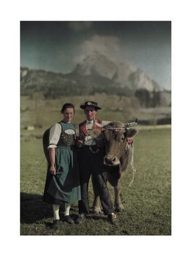 Swiss Natives Pose for an Informal Picture with their Cow by Hans Hildenbrand