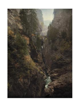 The Via Mala Gorge in the Crevasse of Two Mountains in the Alps by Hans Hildenbrand