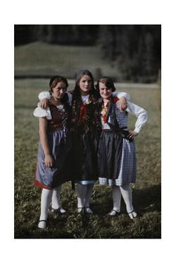 Three Girls Pose During their Summer Vacation at Murau by Hans Hildenbrand