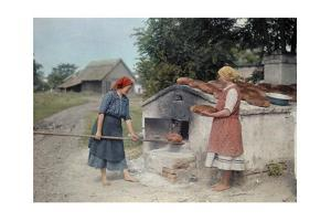 Two Peasant Women Bake Bread with an Old-Fashioned Stove by Hans Hildenbrand