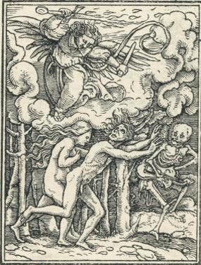 Chased from the Garden of Eden by an Angel with a Fiery Sword Accompanied by Death by Hans Holbein the Younger