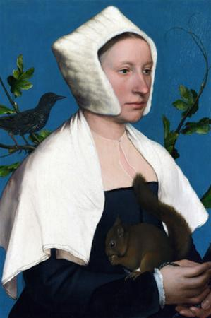 Portrait of a Lady with a Squirrel and a Starling by Hans Holbein the Younger