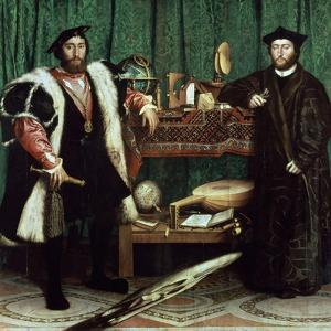 "The Ambassadors ""With Anamorphosis In the Lower Part of the Painting"" 1533, Germany School by Hans Holbein the Younger"