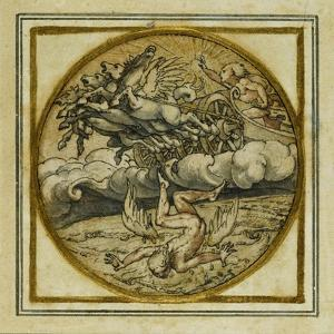 The Fall of Icarus - Design for a Pendant or Hat Badge, C.1532-43 by Hans Holbein the Younger