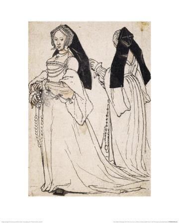 Two Views of a Woman Wearing an English Hood by Hans Holbein the Younger