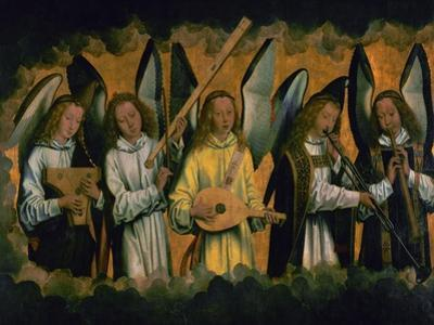 Angels making music; left panel of a triptych, around 1487-1490. Inv.778. by Hans Memling