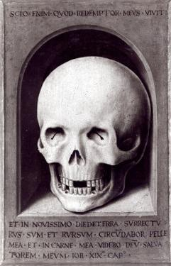 Skull, Right Hand Panel Reverse from the Triptych of Earthly Vanity and Divine Salvation, c.1485 by Hans Memling