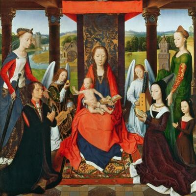 The Virgin and Child with Saints and Donors, a Panel from 'The Donne Triptych' C.1478 (Oil on Oak)